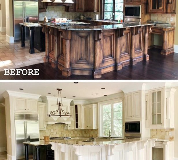 before after kitchen painting